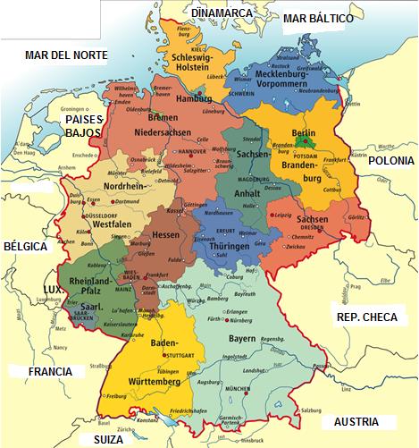 Geografía Alemania Fronteras