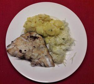 skrei con ensalada de patata