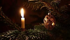 Arbol natural de navidad con velas